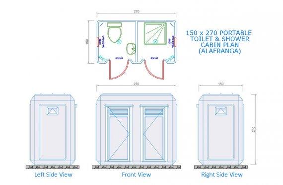150x270 Portativ Tualet və Duş Kabini