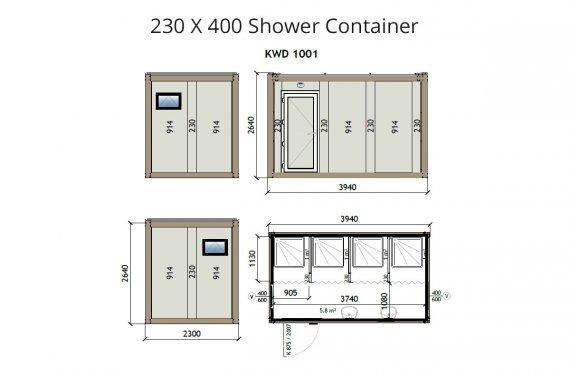 KW4 230X400 Duş Konteyneri
