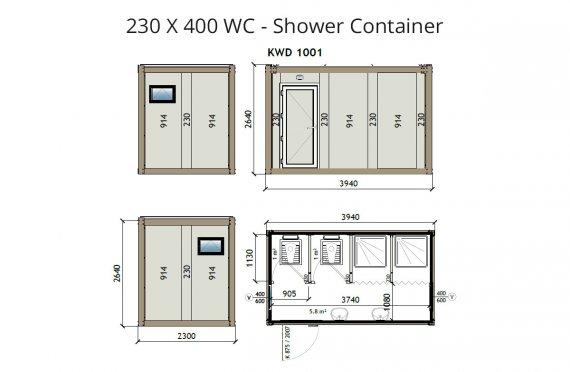 KW4 230X400 Tualet - Duş Konteyneri