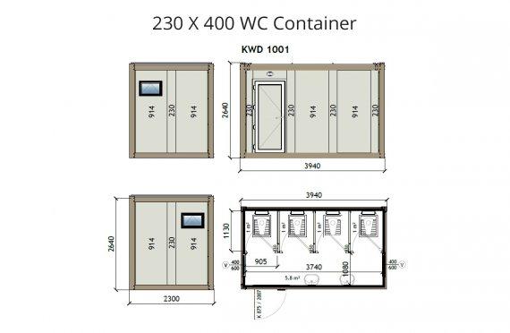KW4 230X400 Tualet Konteyneri