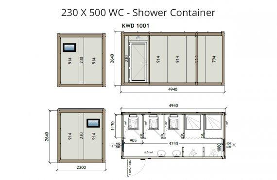 KW6 230X500 Tualet - Duş Konteyneri