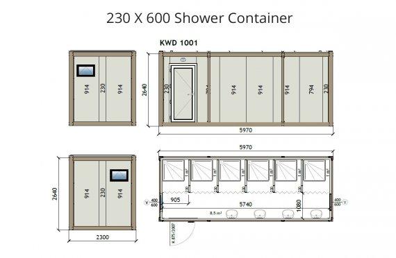 KW6 230X600 Duş Konteyneri
