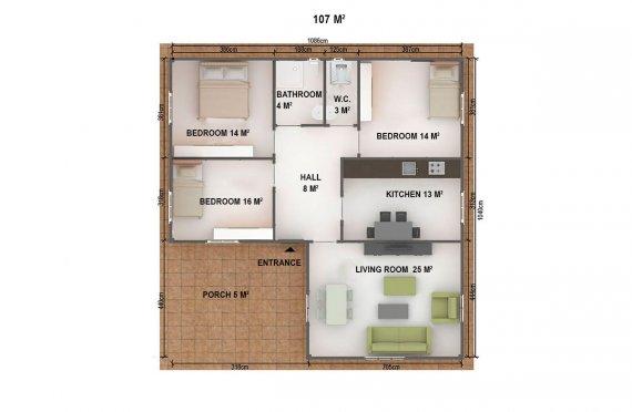 Prefabrik Ev 107 m²