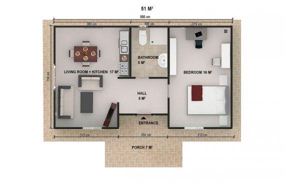 Prefabrik Ev 51 m²