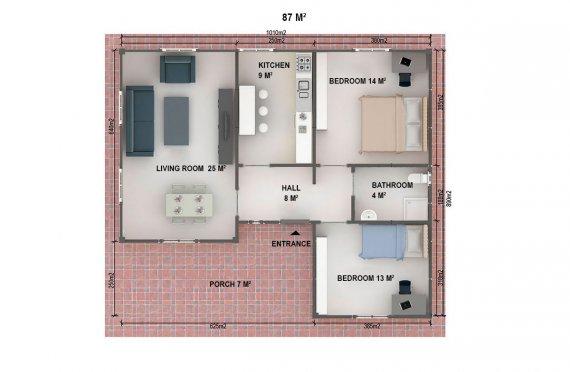 Prefabrik Ev 87 m²
